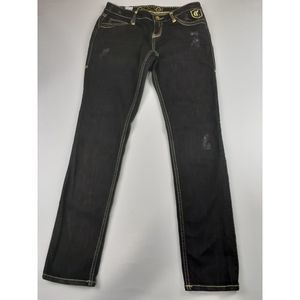COOGI FACTORY DISTRESS STRETCHY TAPER LEG JEANS